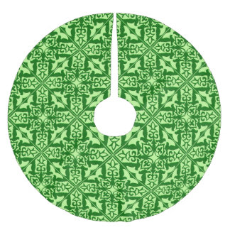Moroccan tile - dark pine green brushed polyester tree skirt
