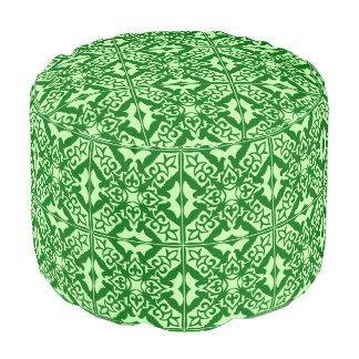 Moroccan tile - dark pine green round pouf