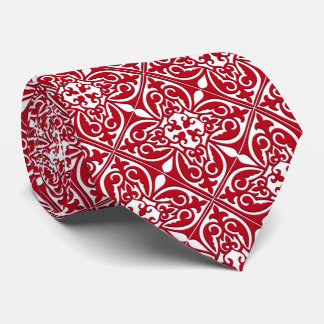 Moroccan tile - dark red and white neck tie