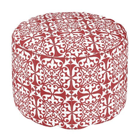 Moroccan tile - dark red and white pouf