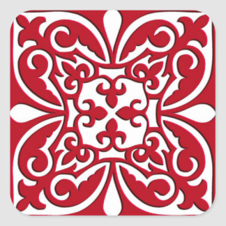 Moroccan tile - dark red and white square sticker