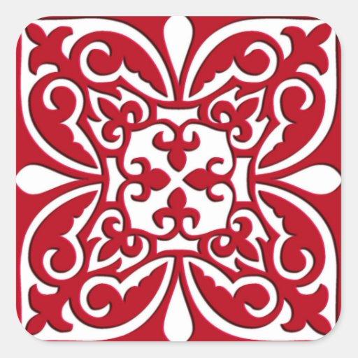Moroccan tile - dark red and white square stickers