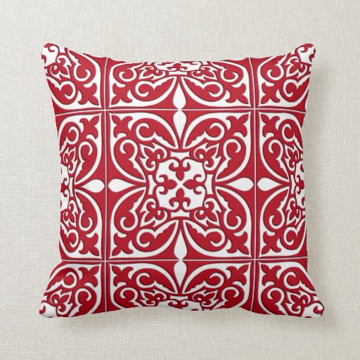 Throw Pillows Red And White : Moroccan tile - dark red and white throw pillow Zazzle