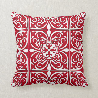 Moroccan tile - dark red and white throw pillow