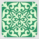 Moroccan tile - emerald and light green square sticker