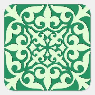 Moroccan tile - emerald and light green square sticker