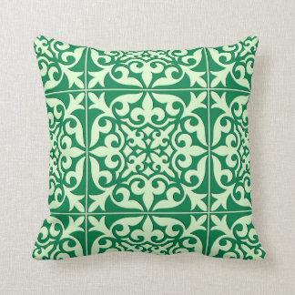 Moroccan tile - emerald and light green throw pillow