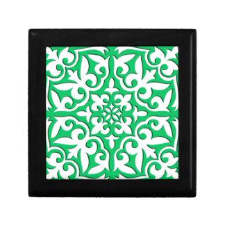 Moroccan tile - jade green and white keepsake box