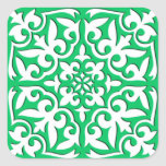 Moroccan tile - jade green and white square stickers