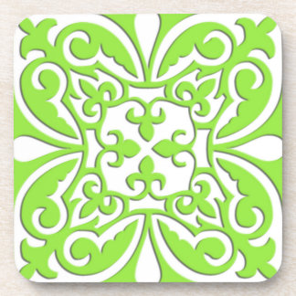 Moroccan tile - lime green and white drink coaster