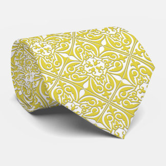 Moroccan tile - mustard yellow and white tie