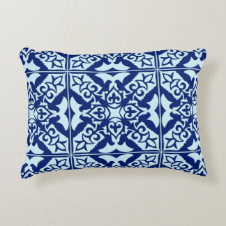 Moroccan tile - navy and light blue decorative pillow