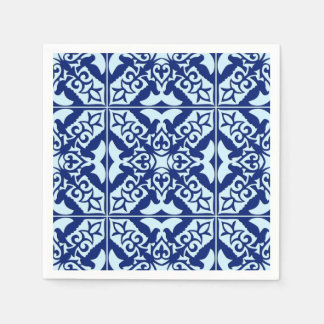 Moroccan tile - navy and light blue paper napkin