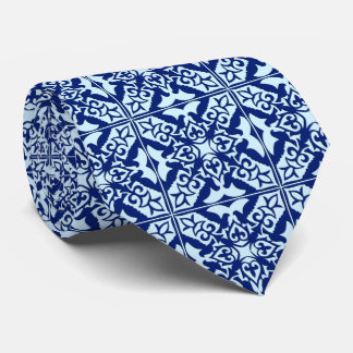 Moroccan tile - navy and light blue tie