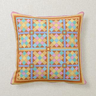 Moroccan tile patchwork blocks throw pillows