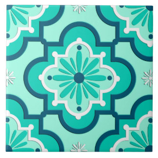 Moroccan Tile Pattern Aqua And Turquoise