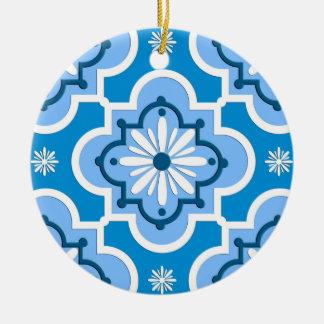 Moroccan tile pattern - Blue and White Ceramic Ornament
