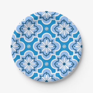 Moroccan tile pattern - Blue and White 7 Inch Paper Plate