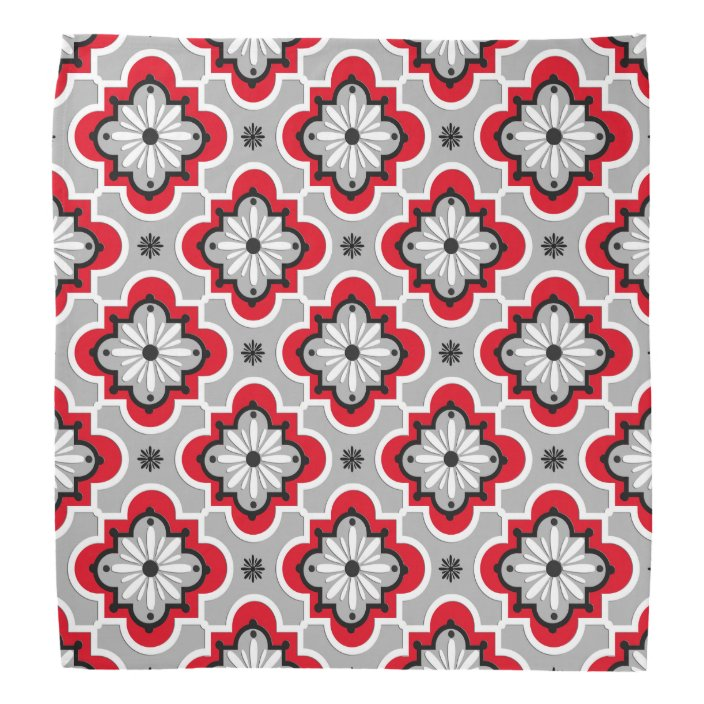 Moroccan Tile Pattern Grey And Red