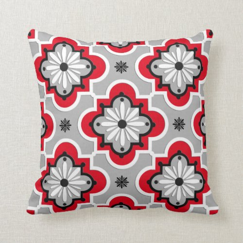 Moroccan tile pattern - Grey and Red Throw Pillow