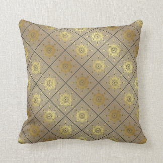 Moroccan Tile patterns taupe gold gray star Throw Pillow