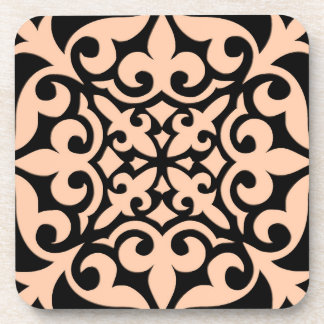 Moroccan tile - peach pink and black beverage coaster
