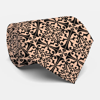 Moroccan tile - peach pink and black neck tie