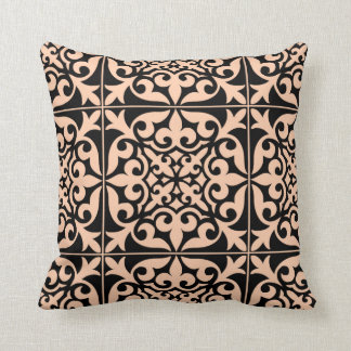Moroccan tile - peach pink and black throw pillow