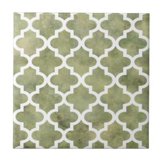 Moroccan Tile Trellis Patterm on Moss Green Marble