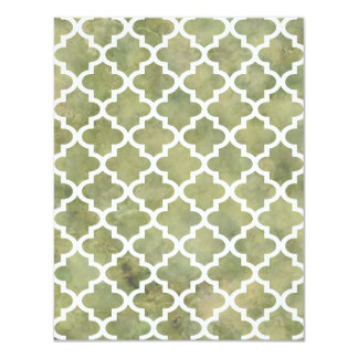 Moroccan Tile Trellis Patterm on Moss Green Marble 4.25x5.5 Paper Invitation Card