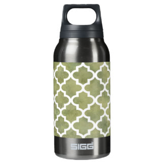 Moroccan Tile Trellis Patterm on Moss Green Marble Insulated Water Bottle