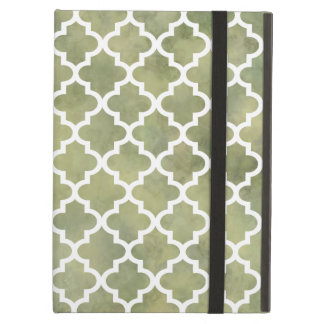 Moroccan Tile Trellis Patterm on Moss Green Marble Cover For iPad Air