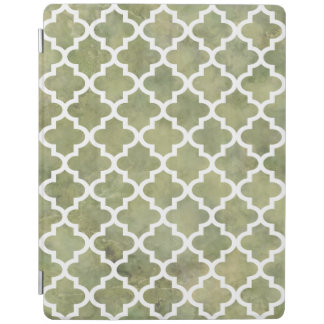 Moroccan Tile Trellis Patterm on Moss Green Marble iPad Smart Cover