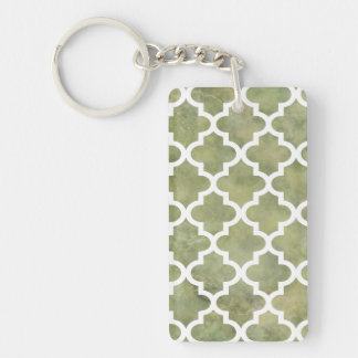 Moroccan Tile Trellis Patterm on Moss Green Marble Keychain