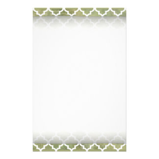 Moroccan Tile Trellis Patterm on Moss Green Marble Stationery