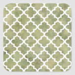 Moroccan Tile Trellis Patterm on Moss Green Marble Sticker