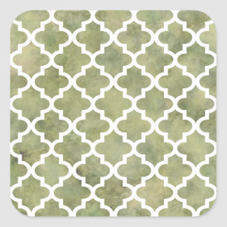Moroccan Tile Trellis Patterm on Moss Green Marble Sticker