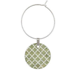 Moroccan Tile Trellis Patterm on Moss Green Marble Wine Glass Charm