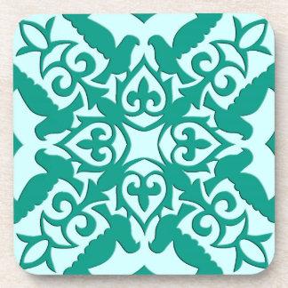 Moroccan tile - turquoise and aqua coaster