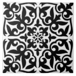 """Moroccan tile - white with black background<br><div class=""""desc"""">Moroccan inspired tile pattern tile with a polished,  ceramic look - white pattern with a black background</div>"""