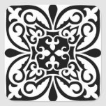 Moroccan tile - white with black background square sticker