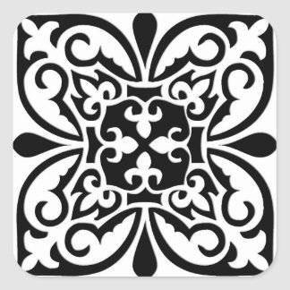 Moroccan tile - white with black background square sticker