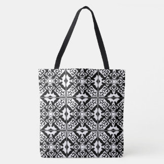 Moroccan tile - white with black background tote bag