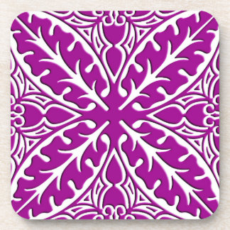 Moroccan tiles - amethyst purple and white drink coaster