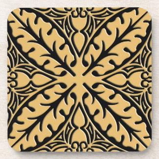 Moroccan tiles - camel tan and black beverage coaster