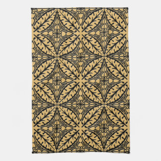 Moroccan tiles - camel tan and black kitchen towel