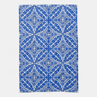Moroccan tiles - cobalt blue and white hand towels