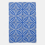 Moroccan tiles - cobalt blue and white kitchen towel