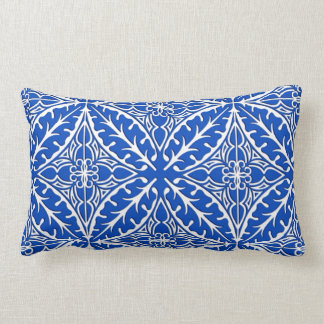 Moroccan tiles - cobalt blue and white pillow