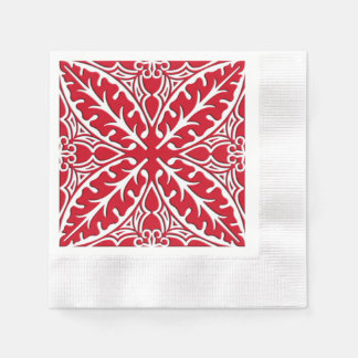 Moroccan tiles - dark red and white paper napkin